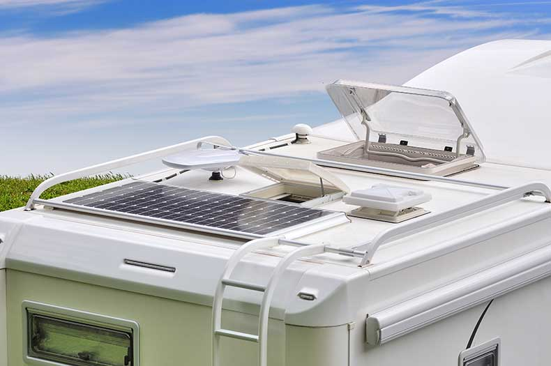 Caravan with the roof window open
